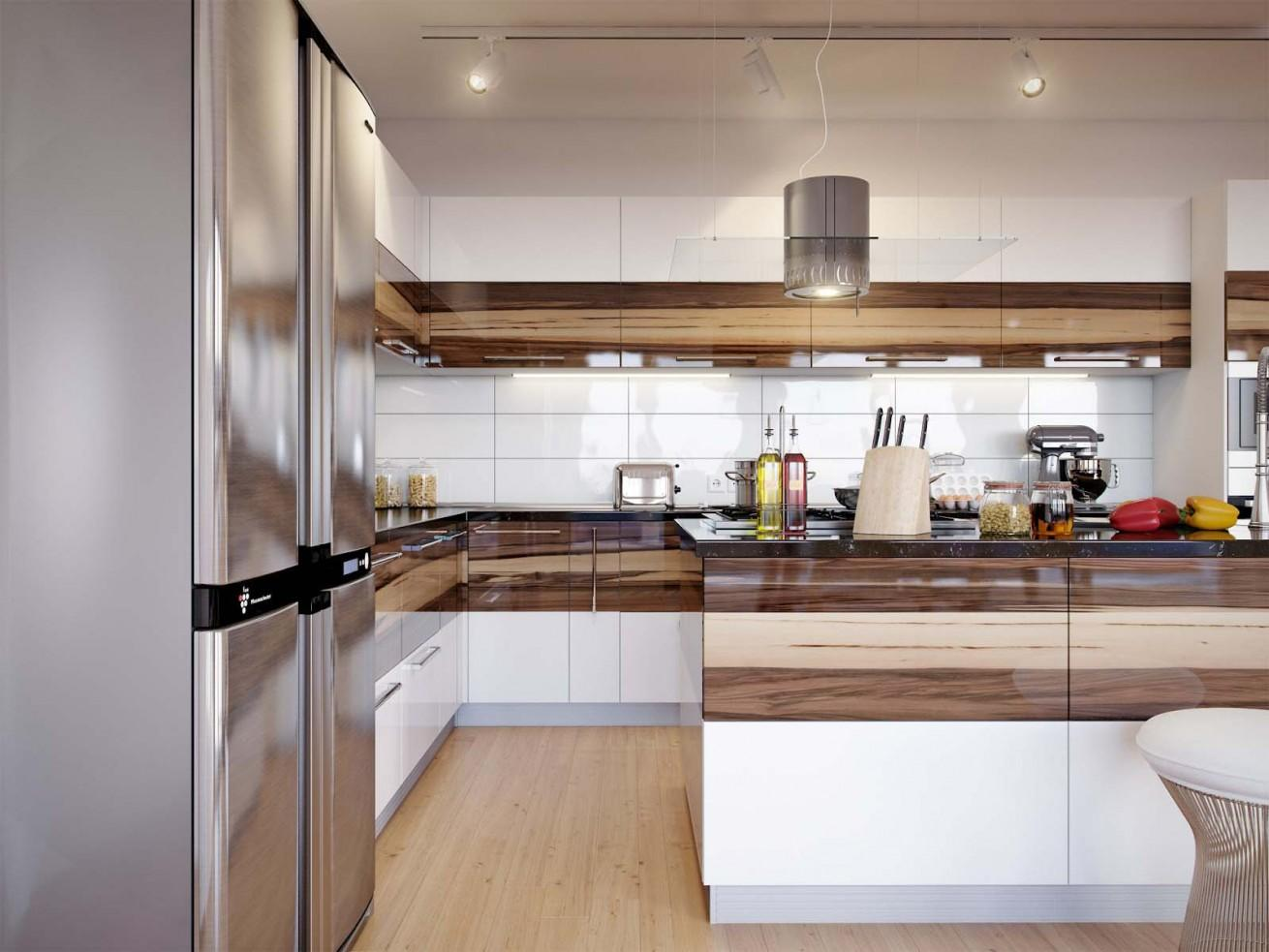 MDF Polished Kitchen Furniture with Acrylic Countertop