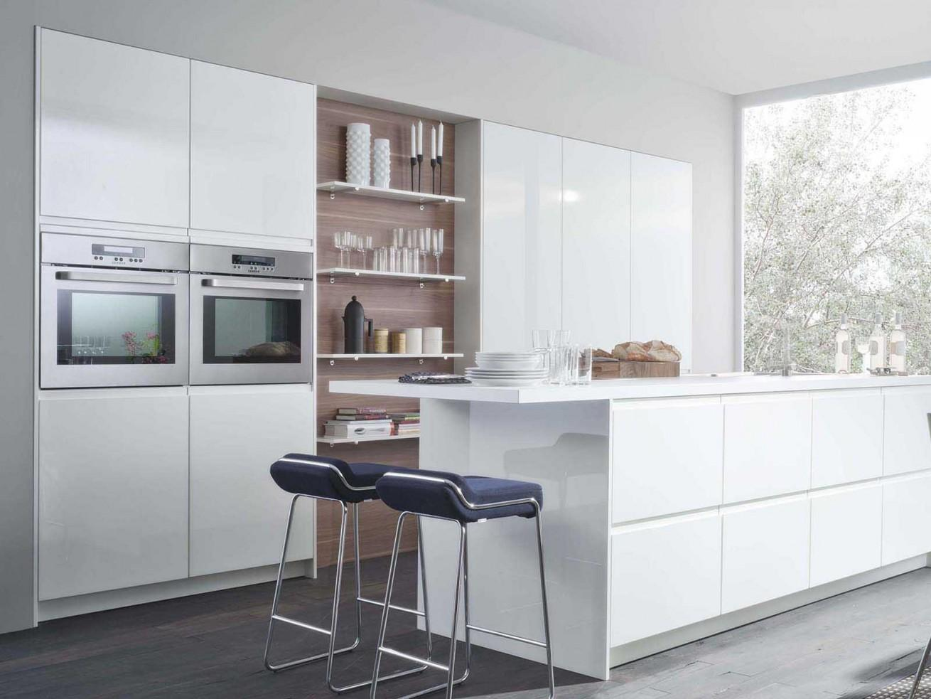 Lacquered MDF Modern Kitchen Furniture with Acrylic Countertop